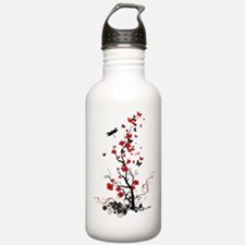 Black and Red Flowers Water Bottle