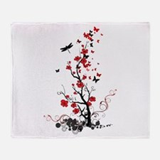 Black and Red Flowers Throw Blanket