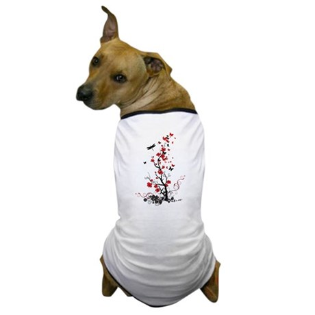 Black and Red Flowers Dog T-Shirt