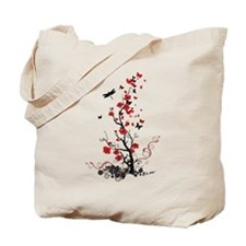 Black and Red Flowers Tote Bag