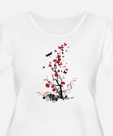 Black and Red Flowers T-Shirt