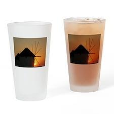 Mykonos Windmills at sunset Drinking Glass