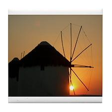 Mykonos Windmills at sunset Tile Coaster
