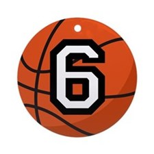 Basketball Player Number 6 Ornament (Round)