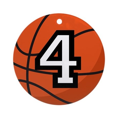 Basketball Player Number 4 Ornament (Round)