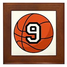 Basketball Player Number 9 Framed Tile