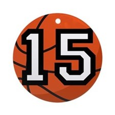Basketball Player Number 15 Ornament (Round)