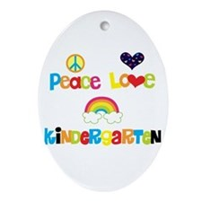 Peace Love Kindergarten Ornament (Oval)