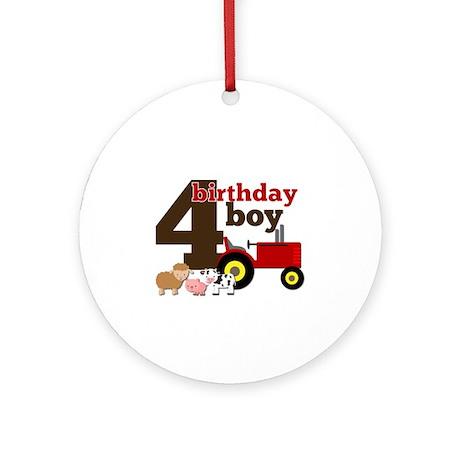 Farm/Tractor Birthday Boy Ornament (Round)