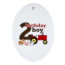 Farm/Tractor Birthday Boy Ornament (Oval)