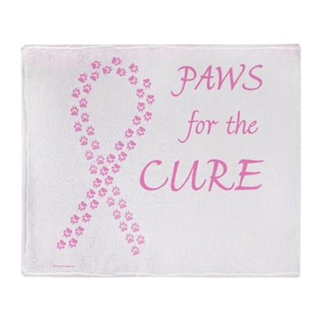 Pink Paws4Cure Throw Blanket