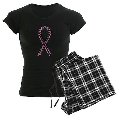 Pink Paw Ribbon Women's Dark Pajamas