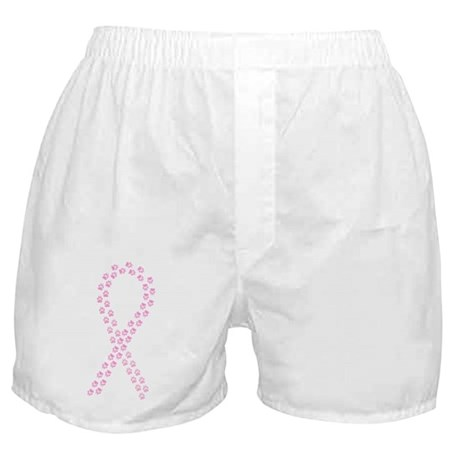 Pink Paw Ribbon Boxer Shorts