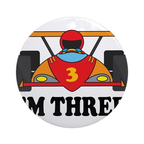 Racing Car 3rd Birthday Ornament (Round)