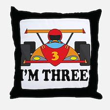 Racing Car 3rd Birthday Throw Pillow