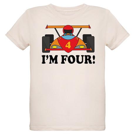 Racing Car 4th Birthday Organic Kids T-Shirt