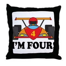 Racing Car 4th Birthday Throw Pillow