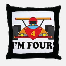 Racing Car 4th Birthday Throw Pillow