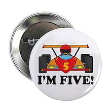 """Racing Car 5th Birthday 2.25"""" Button"""