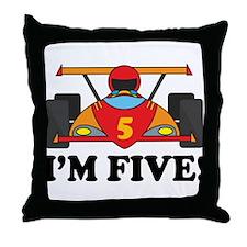 Racing Car 5th Birthday Throw Pillow
