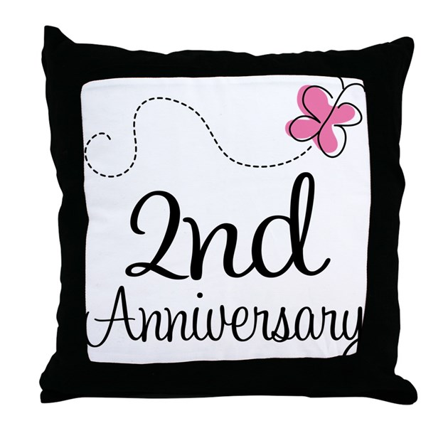 Nd anniversary gift butterfly throw pillow by