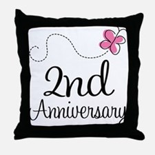 2nd Anniversary Gift Butterfly Throw Pillow