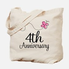 4th Anniversary Gift Butterfly Tote Bag