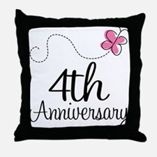 4th Anniversary Gift Butterfly Throw Pillow