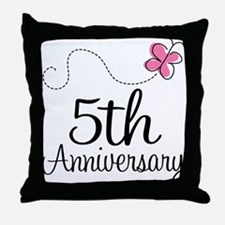 5th Anniversary Gift Butterfly Throw Pillow