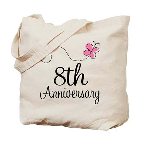 8th Anniversary Gift Butterfly Tote Bag