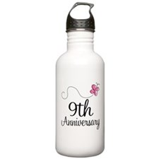 9th Anniversary Gift Butterfly Water Bottle