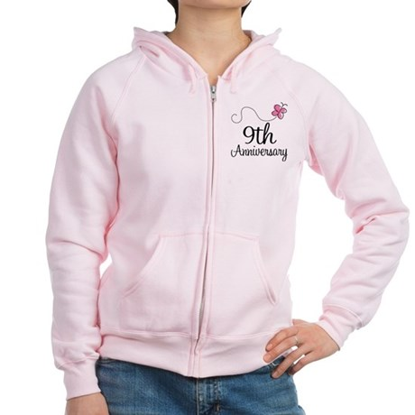9th Anniversary Gift Butterfly Women's Zip Hoodie