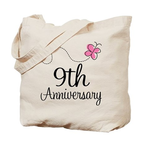 9th Anniversary Gift Butterfly Tote Bag