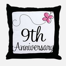 9th Anniversary Gift Butterfly Throw Pillow