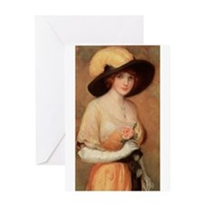Victorian Lady With Rose Greeting Card