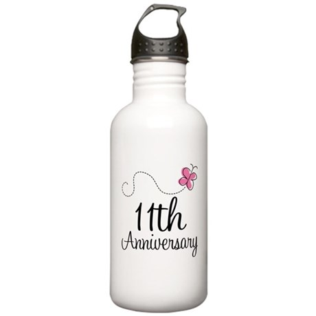 11th Anniversary Gift Butterfly Stainless Water Bo