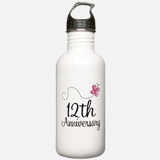 12th Anniversary Gift Butterfly Water Bottle
