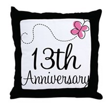 13th Anniversary Gift Butterfly Throw Pillow