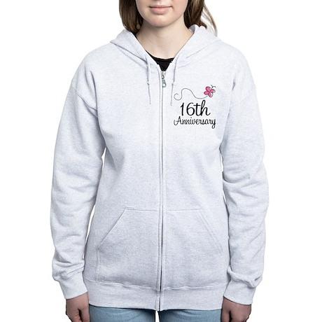 16th Anniversary Gift Butterfly Women's Zip Hoodie
