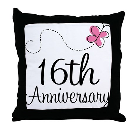 16th Anniversary Gift Butterfly Throw Pillow