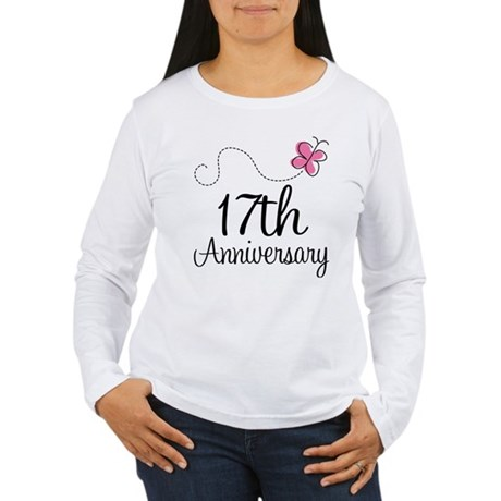 17th Anniversary Gift Butterfly Women's Long Sleev