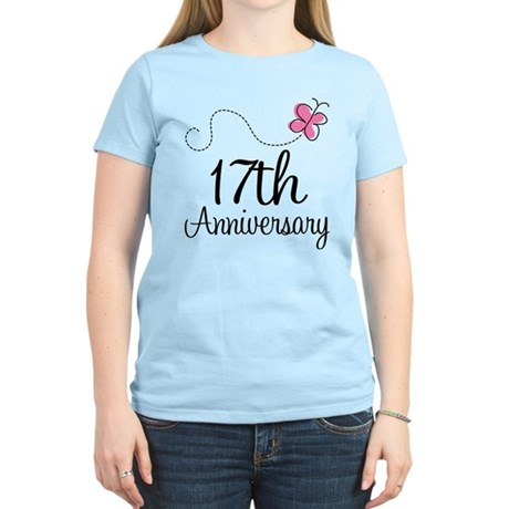 17th Anniversary Gift Butterfly Women's Light T-Sh