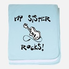 My Sister Rocks! (Guitar) baby blanket