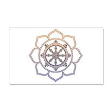 Dharma Wheel with Lotus Flowe 22x14 Wall Peel