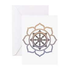 Dharma Wheel with Lotus Flowe Greeting Card