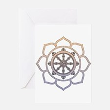 Dharma Wheel with Lotus Flowe Greeting Card