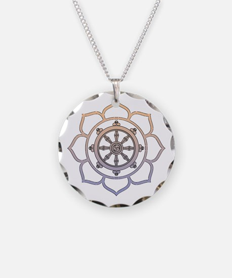 Dharma Wheel with Lotus Flowe Necklace Circle Char