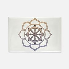 Dharma Wheel with Lotus Flowe Rectangle Magnet