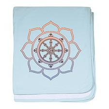 Dharma Wheel with Lotus Flowe baby blanket