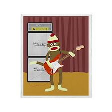 Sock Monkey Guitar Throw Blanket